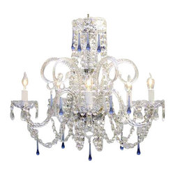 The Gallery - Blue Crystal chandelier No Reserve - A great European tradition. Nothing is quite as elegant as the fine crystal chandeliers that gave sparkle to brilliant evenings at palaces and manor houses across Europe. This beautiful crystal chandelier is decorated with 100% crystal that captures and reflects the light of the candle bulbs, each resting in a scalloped bob ache. The timeless elegance of This chandelier is sure to lend a special atmosphere in every home.