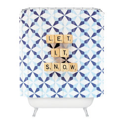 DENY Designs - DENY Designs Happee Monkee Let It Snow Shower Curtain - Who says bathrooms can't be fun? To get the most bang for your buck, start with an artistic, inventive shower curtain. We've got endless options that will really make your bathroom pop. Heck, your guests may start spending a little extra time in there because of it!