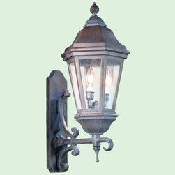 Troy Lighting - Verona Outdoor Wall Sconce No. BCD683 by Troy Lighting - A handsome blend of Victorian and early American design, the Troy Lighting Verona Outdoor Wall Sconce No. BCD683 presents elegant exterior lighting through clear seeded glass. Its curling metalwork is finished in one of three rich hues, perfect for a variety of home architecture styles. A companion to the Verona Outdoor Pendant.Troy Lighting, headquartered in California, designs and manufactures indoor and outdoor lighting fixtures, utilizing hand-forged iron and hand-applied finishes to create quality products with high-style appeal.The Troy Lighting Verona Outdoor Wall Sconce No. BCD683 is available with the following:Details:Clear Seeded glass shadeCast aluminum constructionDecorative wall plateUL Listed for wet locationsOptions:Finish: Antique Bronze, Bronze Patina (shown), or Matte Black.Size: Extra Extra Large, Extra Large, or Large (shown).Lighting:Extra Extra Large option utilizes four 60 Watt 120 Volt Candelabra Base Incandescent lamps (not included).Extra Large option utilizes three 60 Watt 120 Volt Candelabra Base Incandescent lamps (not included).Large option utilizes two 60 Watt 120 Volt Candelabra Base Incandescent lamps (not included).Shipping:This item usually ships within 1 -2 weeks.