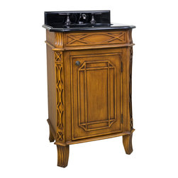 "Hardware Resources - Lyn Design VAN047-T - This 24"" wide MDF vanity features curved lattice like carvings and a toffee finish to give it an Art Deco appeal. Its compact size makes it an ideal alternative to a pedestal sink. A large cabinet provides ample storage. This vanity has a 2CM black granite top preassembled with an H8809WH (15"" x 12"") bowl, cut for 8"" faucet spread, and corresponding 2CM x 4"" tall backsplash. Overall Measurements: 24"" x 20-3/4"" x 36-1/4"" (measurements taken from the widest point)"