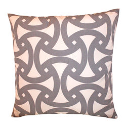 The Pillow Studio - Grey Outdoor Santorini Pillow Cover by Schumacher - I love the geometric design on this pillow and the subtle contrast of the grey and ivory - its a great addition inside or out!