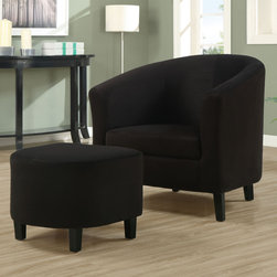 """Monarch - Black Padded Micro-Fiber Accent Chair And Ottoman - Whether standing alone or used to accent a full living room ensemble, this chair will bring optimal comfort and exceptional style to your home. Designed with a round back that connects with its gently flared track arms for a unique barrel shape, this accent chair has a sleek yet gentle contemporary style that will stand out in any room. Raised on slender wood legs and draped in a black padded micro-fiber upholstery, this chair's chic modern vibe is only further emphasized. Gentle to the eye and to the touch, this chair is stuffed with a plush boxed seat cushion and is accompanied with a matching ottoman for soft support you will be just dying to sink into.;Features: Color: Black;Weight: 49 lbs.;Dimensions: Chair: 29.5""""L x 28.5""""W x 29.5""""H;Ottoman: 18.25""""L x 16.75""""W x 15.5""""H"""