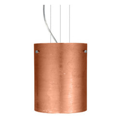 Besa Lighting - Besa Lighting 1KG-4006CF Tamburo 1 Light Cable-Hung Pendant - Tamburo is a classic open-ended cylinder of handcrafted glass, a shape that will stand the test of time. Our Copper Foil glass is sparkling and metallic. Distressed metal foil is applied to the inner surface of a glossy clear blown glass. This decor is full of textured and depth, however the outer surface of the glass is smooth. When lit the glass comes to life, as the distressed foil allows glimpses of light to pass through. This blown glass is handcrafted by a skilled artisan, utilizing century-old techniques passed down from generation to generation. Each piece of this decor has its own artistic nature that can be individually appreciated. The cable pendant fixture is equipped with three (3) 10' silver aircraft cables and 10' AWM cordset, and a low profile flat monopoint canopy.Features: