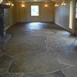 "Natural Stone Floors - Natural Stone flooring for interior room consisting of 1/2"" Ocean Wave Irregular Flagstone.  Installation by Landscope Masonry, Stone by Sturgis Materials."