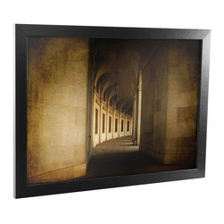 Trademark Art - Hallowed Halls Framed Canvas Art - Contemporary style. Reflective crystal plexiglass. Sawtooth hanger. 1.25 in. black satin wood grain frame. Black color. No assembly required. Rabbit size: 0.25 in.. Image size: 22 in. W x 16 in. H. Overall: 24 in. W x 18 in. H (5 lbs.)Accent the walls in your kitchen, living room, or bar with a beautiful piece of Framed Canvas Art.