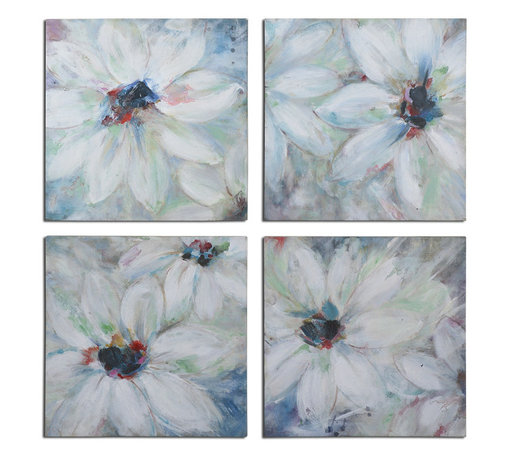 Uttermost - Bold and Beautiful Floral Art Set of 4 - Frameless, hand painted artwork on canvas that has been stretched and attached to wooden stretching bars. Due to the handcrafted nature of this artwork, each piece may have subtle differences.