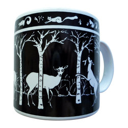 Taylor and Ng - Primitives Deer Mug - Taylor & Ng - Deer in a Black design on a White 11 oz Ceramic mug. Dishwasher, microwave safe. Primitive Mugs collection. Stackable for easy storage. 3.25 in. L x 3.25 in. W x 3.5 in. H