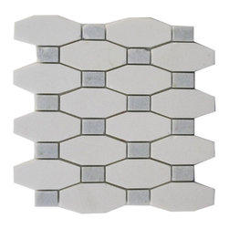 """Octave Pattern White Thassos With Blue Celeste Dot - OCTAVE PATTERN WHITE THASSOS WITH BLUE CELESTE DOT TILES 3/5"""" X 1.5"""" DOT: 1 1/5"""" X 3/4"""" These hand-made window patterns are made from stone mosaics, each piece fits into the next like a perfect puzzle. Its stunning design and unique pattern of rectangle and oblong octagons will bring warmth and a natural ambience to your home. The mesh backing not only simplifies installation, it also allows the tiles to be separated which adds to their design flexibility. Chip Size: 3/5"""" x 1.5"""" Dot: 1 1/5"""" x 3/4"""" Color: White Thossos with Blue Celeste Dot Material: Thossos and Celeste Stone Finish: Polish Sold by the Sheet - each sheet measures 10"""" x 10"""" (0.7 sq. ft.); 8 rows per sheet Thickness: 3/8"""""""