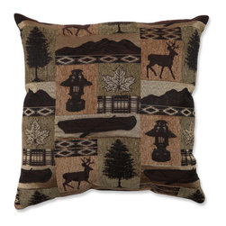 Pillow Perfect - Lodge Brown and Green 18-Inch Throw Pillow - - Evergreen Lodge 18-Inch Throw Pillow  - Sewn Seam Closure  - Knife Edge Pillow Perfect - 528816