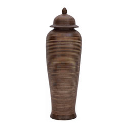 Kathy Kuo Home - Mesa Carved Brown Modern Southwestern Tall Temple Jar - This carved jar commands attention wherever it's displayed. Set it on a shelf solo or place a pair on the mantel for a touch of Southwestern-inspired drama.