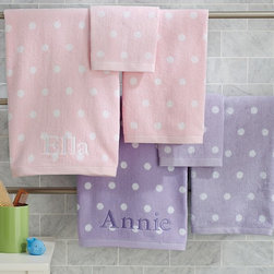 Polka Dot Bath Towel Collection - Sprinkled with white polka dots, these bath towels add a playful feel to the bath.