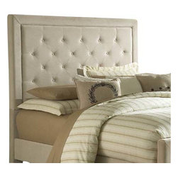 Hillsdale Furniture - Hillsdale Kaylie Upholstered Headboard with Rails in Buckwheat - Queen - Tall, elegant and impactful, the Kaylie bed is ready for royalty. With its statuous headboard and compact footboard, button and tuck styling, and inviting microfiber fabric, the Kaylie bed is a statement in luxury. Available in both queen and king sizes, as well as your choice of buckwheat, chocolate or pewter fabric.