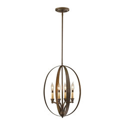 """Murray Feiss - Traditional Murray Feiss Kinsey 15"""" Wide 4-Light Pendant Chandelier - This pendant chandelier from Murray Feiss's appealing Kinsey Collection features eye-catching style that everyone can appreciate. Four candelabra bulbs are enclosed within a Corinthian Bronze finish frame. A fabulous lighting accent from Murray Feiss. Corinthian Bronze finish. Takes four 60 watt candelabra bulbs (not included). Includes one 6"""" and four 12"""" rods. Includes 180"""" of wire. 15"""" wide. 21"""" high. Hang weight of 9 3/4 lbs.  Corinthian Bronze finish.   Takes four 60 watt candelabra bulbs (not included).   Includes one 6"""" and four 12"""" rods.   Includes 180"""" of wire.   15"""" wide.   21"""" high.   Hang weight of 9 3/4 lbs."""