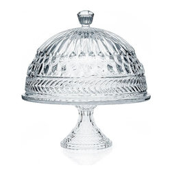 "Godinger Silver - Crystal Symphony Cake Plate with Dome - A unique way to add a special touch to any event , our crystal cake plate creates a beautiful presentation while leaving a lasting impression on your guests. Whether mom is a great baker, or relies on the neighborhood stores, her cakes will look lovely and stay oven fresh! The timeless design of this cake plate is perfect for any home and makes a lovely hostess gift she will enjoy for years to come. Cake stand is footed, providing a beautiful crystal centerpiece to display and serve cakes, pies, appetizers and more. * Dimensions: L: 12"" W: 12"" H: 13"""