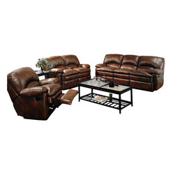 Coaster - Coaster Walter 3 Piece Reclining Sofa Set in Brown Bonded Leather - Coaster - Sofa Sets - 60033132333PKG