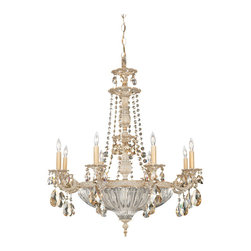 Schonbek Lighting - Schonbek Lighting 5692-85GS Milano Provincial Gold 8 Light Chandelier - 8 Bulbs, Bulb Type: 60 Watt Incandescent; Product made-to-order, 6-8 week lead time