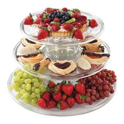 Creative Bath Three Tier Serving Tower - When the occasion calls for cake pastries cookies and other treats use the Creative Bath Three Tier Serving Tower to present them in elegant style. This versatile tiered serving stand features three round plates and two risers to form a striking raised presentation. You can also use it to hold cheese meat fruit veggies appetizers and more. It disassembles for easy storage and the pieces can be used separately. The plates can be used individually as serving platters while the risers can double as bowls. It's made in the USA of durable yet lightweight clear acrylic so you don't have to worry about it breaking. Set Includes: 1 riser/bowl: 7 diam. x 5H inches 1 riser/bowl: 5.5 diam. x 4.38H inches 1 small plate: 12.75 diam. inches 1 medium plate: 15.5 diam. inches 1 large plate: 18 diam. inches About Creative BathFor over 30 years Creative Bath has developed innovative stylish bathroom decor items. They have grown exponentially and now you can find their products in major retail and online stores around the world. From shower curtains to soap dishes and everything in between Creative Bath brings you high quality items to enhance your lifestyle.