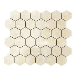 marblesystems - Casablanca Honed Hexagon Limestone Mosaics - Natural mosaic tile that can be used on floors and walls.