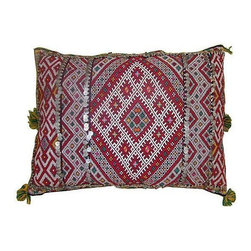 Pre-owned Moroccan Sham with Green & Pink Diamonds - A fantastic handwoven pillow sham with an elaborate diamond pattern, from the Zemmour tribe in the Middle Atlas mountains of Morocco. Zipper closure. Price is for the sham only, insert is not included.