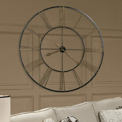 """Howard Miller - Postema Wall Clock - This incredible 49"""" diameter wrought-iron wall clock is finished in aged black with applied antique gold numerals. Features: -The hour and minute hands are finished in antique gold and feature an open fret-cut diamond style -Clock ships in two easy-to-assemble sections, making it possible to ship via UPS and FedEx -Quartz, battery operated movement -Dimensions: 49 H x 49 W x 2.25 D"""