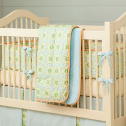 Bella Crib Comforter - Front of comforter features Bella Circles, backed with Aqua Minky, and edged with Solid Light Orange trim.