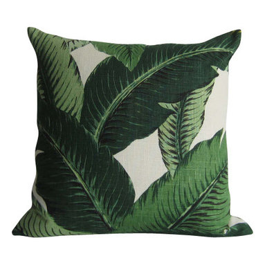 Tommy Bahama/STUDIO TULLIA - Swaying Palms Pillow Cover - Linen - Indoor Decorative Pillow - Palm Pillow Cover - green floral - Linen/Rayon - for a 20 inch insert