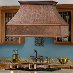 """48"""" Tuscan Series Copper Island Range Hood - Add this hand-hammered 48"""" Tuscan Series Copper Island Range Hood to complete your gourmet kitchen. This copper kitchen exhaust fan features three dimmable lights and three washable filters to make it as functional as it is stylish."""