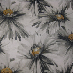 Fabulous Fabrics - Large scale floral with charcoal and gold tones.
