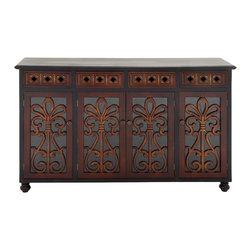 Antique themed Wood Glass Cabinet - Description: