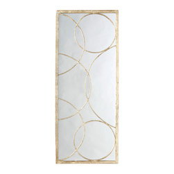 Kathy Kuo Home - Nikita Hollywood Regency Gold Leaf Circle Motif Mirror - Looking to create a sense of light and air, using the most refined modernist approach?  Here's your mirror, accented in gold leaf orbs which seem to echo ripples on water.  Beautiful, functional, and just right.