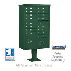 Salsbury Industries - Cluster Box Unit (Includes Pedestal and Master Commercial Locks) - 16 A Size Doo - Cluster Box Unit (Includes Pedestal and Master Commercial Locks) - 16 A Size Doors - Type III - Green - Private Access