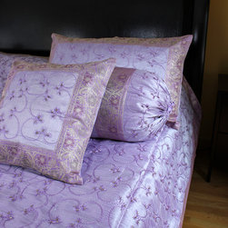Luxurious & Decorative Bedding Sets - Decorative 7-piece  bedding set. Light Violet color. Embroidered by hand in India with beautiful abstract shapes.