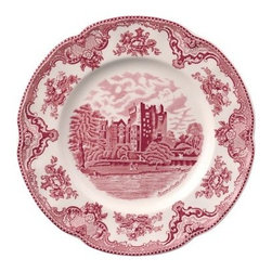 Johnson Brothers Old Britain Castles Earthenware Dinner Plate - Pink - Set of 4 - Reminiscent of a time long gone, the Johnson Brothers Old Britain Castles Earthenware Dinner Plate - Pink - Set of 4 is a gorgeous addition to your table. Beautifully designed with a castle in the center, the delicate floral design around the rim brings the picture together perfectly. Each piece also depicts the name of the castle and the year of its setting inscribed at the bottom of the scene. Don't be fooled by its delicate appearance, this set is crafted from strong and durable earthenware and is dishwasher and microwave safe.About WedgwoodThrough highly skilled craftsmanship and the highest quality standards, Wedgwood manufactures quality ceramics with sophisticated, classical, and contemporary design. With a tradition of innovation, quality, and craftsmanship, Wedgwood designs are widely acknowledged as timeless, elegant, classic, and understated. Their design teams work with external designers for cross-pollination of ideas and experience. Founded in 1759 by Josiah Wedgwood, Wedgwood has been an international company determined to uphold their standards in order to maintain their leadership in the world's markets. Though their roots are over two centuries old, the company strives to stay current through partnerships with fashion designers Jasper Conran and Vera Wang with whom they've developed contemporary and stylish ranges that appeal to the younger consumers.