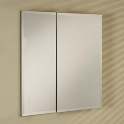 Afina - Afina Broadway Surface Mount Double Door Medicine Cabinet - 25W x 4D x 19H in. M - Shop for Bathroom Cabinets from Hayneedle.com! The Afina Broadway Surface Mount Double Door Medicine Cabinet - 25W x 4D x 19H in. deserves a standing ovation. This piece is constructed from satin anodized aluminum making for an ideally strong and rust-resistant body. Steam won't do a thing. The doors which are not only mirrored but rest upon concealed European hinges are available in your choice of design: beveled or polished edges or an aluminum trim with plain mirrors. The interior boasts a mirrored inside back and mirrored inside doors as well as six adjustable glass shelves for customized storage. Very cool. This piece may be recess or surface mounted. This cabinet measures 25W x 4D x 19H inches. The approximate wall opening dimensions are 24W x 4D x 18H inches.About AfinaAfina Corporation is a manufacturer and importer of fine bath cabinetry lighting fixtures and decorative wall mirrors. Afina products are available in an extensive palette of colors and decorative styles to reflect the trends of a new millennium. Based in Paterson N.J. Afina is committed to providing fine products that will be an integral part of your unique bath environment.
