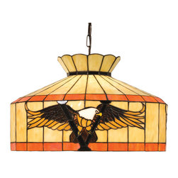 Meyda Tiffany - Victory Eagle Swag Pendant in Mahogany Finish - Handcrafted. Theme: Americana. Requires one medium type 100 watt bulb. Mahogany bronze base. Beige and orange finish. Shade: 20 in. Dia. x 11.25 in. H. 20 in. Dia. x 15 - 158 in. H.