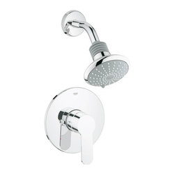 """Grohe - Pressure Balanced Shower w/ Valve Trim, Shower Head/Arm & Flange - Less Valve - Product Features:  Fully covered under Grohe's limited lifetime warranty Premier finishing process - finishes will resist corrosion and tarnishing through everyday use Grohe faucet sets are exclusively engineered in Germany Pressure balancing valve cartridge Compensates for hot or cold water pressure fluctuations and maintains selected showertemperature – no matter how the water pressure is effected Protects against scalding if the cold water supply is cut off by automatically shutting off the flow of hot water Protects against cold water shock if the hot water supply is cut off by automatically shutting off the flow of cold water Shower Package Includes: Valve trim, shower head, and shower arm with flange Designed to easily install with standard U.S. plumbing connections All hardware required for installation is included less rough-in valve  Valve Trim Specifications:  Temperature dial swings smoothly providing easy pin-point control Escutcheon (Cover Plate) Diameter: 6-15/16"""" Includes pre-set safety stop with override capability Rough-in valve is sold separately (when adding to cart, valve options will be presented)  Shower Head Specifications:  Multi-function shower head with DreamSpray technology and 2 spray patterns Shower head rotates on a swivel ball assembly for whole-body coverage Flow Rate: 2.5 GPM (gallons-per-minute) Shower Head Width: 4-5/8"""" Shower Arm Length: 5-5/8""""  Product Technologies / Benefits:  Starlight Finish: Continuously improving over the last 70 years Grohe's unique plating process has been refined to produce and immaculate shiny surface that is recognized as one of the best surface finishes the world over. Grohe plates sub layers of copper and/or nickel to ensure that a completely non-porous, immaculate surface awaits the chrome layer. This deep, even layered chrome surface creates a luminous and mirror like sheen. SpeedClean: Never letting hard-water o"""
