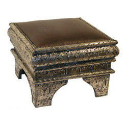 Middle Eastern Artisans - Marrakesh Foot Stool - Perfect for extra seating or simply as a place to rest your feet, this exotic footstool makes a worldly addition to any living room. The combination of beautifully tooled nickel and soft leather gives it an exotic and vintage feeling. Place it next to the couch or slip it under the coffee table for easy access.