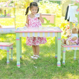 Teamson Kids Magic Garden Table and Chairs Set, Garden - Use this set for the occasional summer tea party.