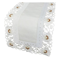 Xia Home Fashions - Victorian Elegance 15-Inch By 54-Inch Table Runner - Refined floral embroidery is rendered with cutwork and sheer to create a linens collection that is both classic and chic!