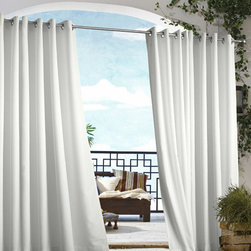Commonwealth Home Fashions - Outdoor Decor White 50 x 96-Inch Gazebo Solid Grommet Top Single Panel - - An indoor and outdoor window treatment  - Eight Silver stainless steel grommets  - 1-inch side hems and 3-inch bottom hem  - Pocket Construction: Grommet top  - Additional Necessary Hardware: Outdoor Rod  - Laundry Instruction: Washable Commonwealth Home Fashions - 70315109050096001