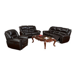 "Acme - 3-Piece Randolph Collection Motion Brown Bonded Leather Upholstered - 3-Piece Randolph collection motion brown bonded leather upholstered with button pin trim sofa, love seat and recliner with recliner ends. This set includes the sofa, love seat and single recliner with an brown bonded leather upholstery with button pin trim with motion reclining seats on the recliner, love seat and sofa with overstuffed arm rests. Sofa measures 91"" x 41"" x 40"" H. Love seat measures 70"" x 41"" x 40"" H. Single recliner measures 47"" x 41"" x 40"" H. Some assembly may be required."