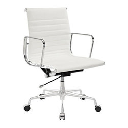Ariel - Eames Style Management White Top Grain Italian Leather Designer Office Chair - The perfect combination of elegant style and sophistication, the Eames Style Management Top Grain Italian Leather Designer Office Chair is one of the most important chairs you can buy for your home office. Made of 100% top grain genuine leather upholstery, mixed with chromed aluminum to create an organic and futuristic look that will accent any space. Available in white or black leather.