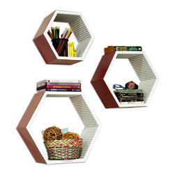 Blancho Bedding - [Brilliant Sunshine] Hexagon Leather Wall Shelf / Floating Shelf (Set of 3) - These beautifully Hexagonal Shaped Wall Shelves display the art of woodworking and add a refreshing element to your home. Versatile in design, these leather wall shelves come in various colors and patterns. These elegant pieces of wall decor can be used for various purposes. It is ideal for displaying keepsakes, books, CDs, photo frames and so much more. Install as shown or you may separate the shelves to create a layout that suits your taste and your style. They spice up your home's decor, and create a multifunctional storage unit for all around your home. Each box serves as a practical shelf, as well as a great wall decoration.