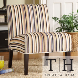 Tribecca Home - TRIBECCA HOME Decor Striped Print Lounge Chair - You'll be sitting in comfort on this striped lounge chair containing a high-density foam cushion. The chair features a contemporary design, with a solid hardwood frame for strength and a polyester fabric covering in an attractive striped pattern.