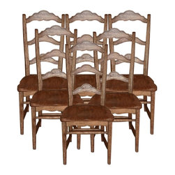 EuroLux Home - New Chair Pecan Colonial Set 6 Stretcher - Product Details