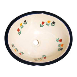 Casa Daya Tile - Made to order Talavera Hand Painted Cottage Style  Sink, Large - The styles are influenced by the beautiful Spanish architecture in the Guanajauto state of Mexico from the time the Spanish inhabited the area starting in the 1520's.
