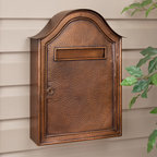 Large Hammered Copper Locking Wall Mount Mailbox - Antique Copper - Security and rustic charm work hand-in-hand with this Locking Copper Wall Mount Mailbox, featuring a large incoming mail slot and spacious interior. Its impressive size and hammered Antique Copper finish are sure to make this piece an eye-catching addition to the front of your home.