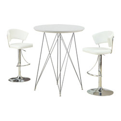 "Monarch Specialties - Monarch Specialties 3 Piece 36 Inch Round Bar Table Set w/ Armless Barstools in - Create a trendy contemporary look with this glossy white 36"" diameter bar table. This piece features sleek chrome metal legs and a smooth surface ideal for drinks and tapas. This table is great for entertaining guest especially in smaller spaces. What's included: Bar Table (1), Barstool (2)."
