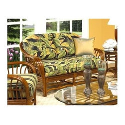 Boca Rattan - Amarillo Rattan Loveseat w Cushions in Urban - Fabric: 642An open weave and graceful curves accent this rattan and bamboo loveseat, a stylish piece finished in urban mahogany with plush seat and back cushions in your choice of fabric options. The loveseat is a perfect choice for a sun room or enclosed patio, and will be a refreshing addition to your home's decor. Cushion included. Indoor use only. Leather bindings. Constructed from strong and durable rattan. 34 in. W x 56 in. L x 32 in. H (95 lbs.)