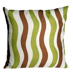 Pillow Decor Ltd. - Pillow Decor - Country Stripes Green and Brown 20 x 20 Throw Pillow - Bring some fun retro waves into your home with this sleek and contemporary throw pillow that combines the beautiful look and feel of linen with the practicality of durable polyester.